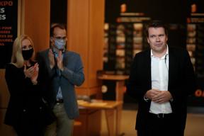À droite, Claude Strasser (directeur de Post Group) ((Photo:Matic Zorman / Maison Moderne))
