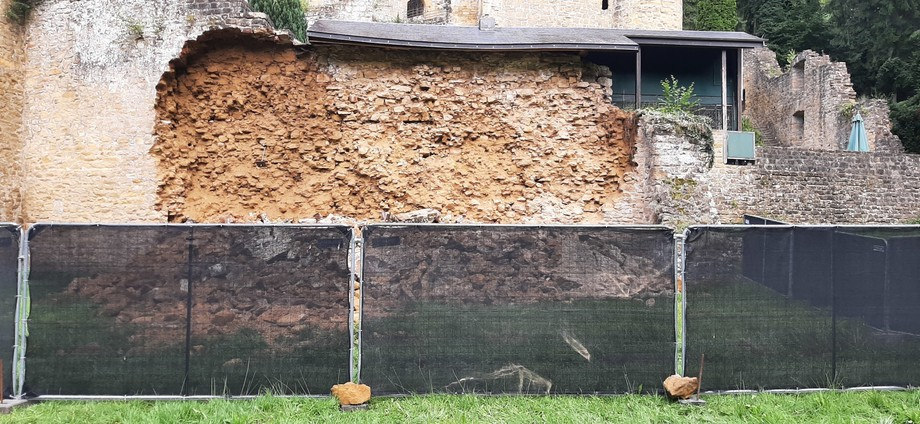 A wall that forms part of the fortified castle ruins collapsed on 30 July  Photo: MCULT