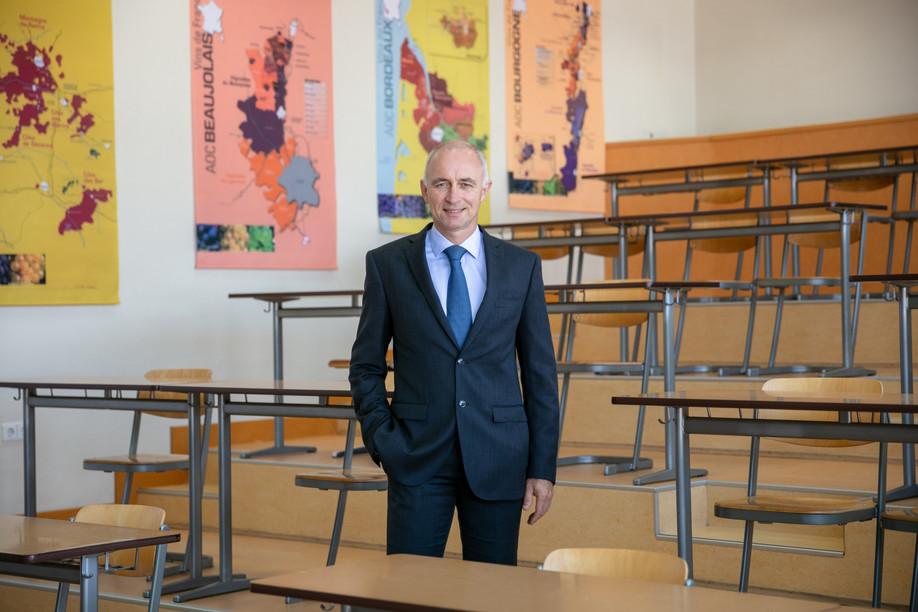 Michel Lanners, pictured in a classroom at theÉcole d'Hôtellerie et de Tourisme du Luxembourg (EHTL) Romain Gamba / Maison Moderne