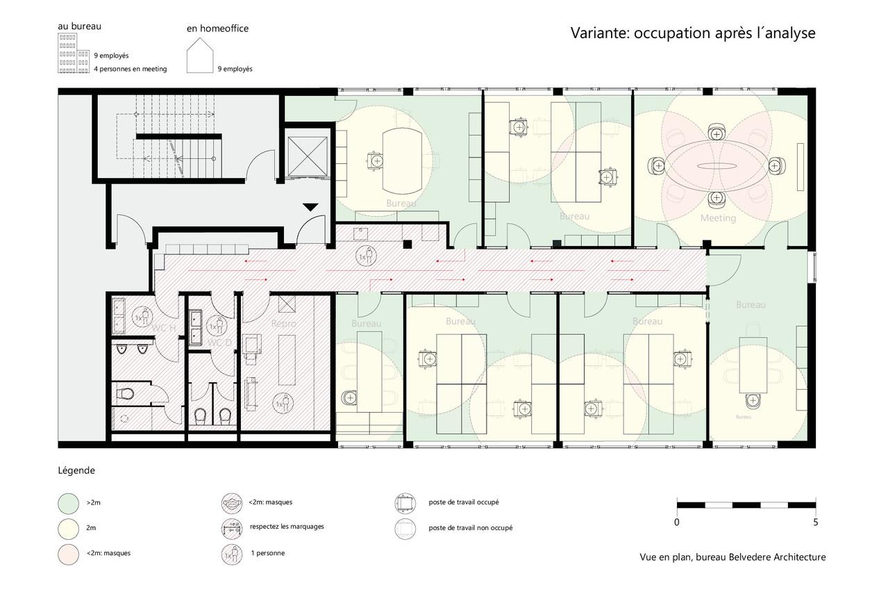 Occupation des bureaux optimisée pour respecter les mesures de distanciation. (Illustration : Belvedere Architecture)