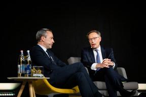 Matthieu Croissandeau (Maison Moderne) etGeoffroy Bazin(CEO de BGL BNP Paribas) ((Photo: Patricia Pitsch/ Maison Moderne))