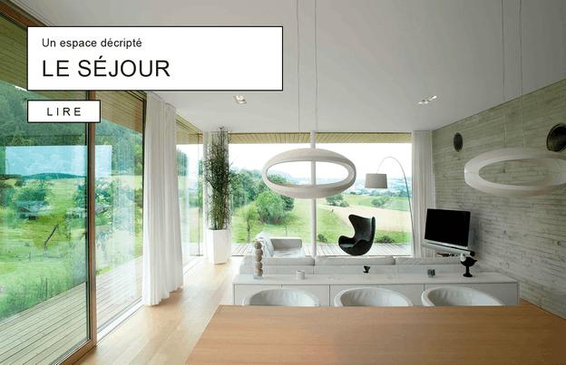 Le séjour de cette maison conçue par Polyform en partenariat avec Christian Bauer et Associés s'ouvre sur le paysage grâce aux grandes baies vitrées. (Photo: Polyform)