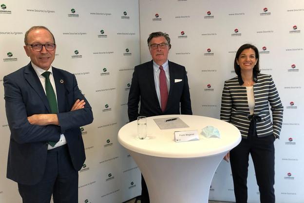 Robert Scharfe, CEO, FrankWagener, président, et JulieBecker, CEO adjoint, ont mené l'assemblée générale de la Bourse à distance ce 14 mai. (Photo: Bourse de Luxembourg)