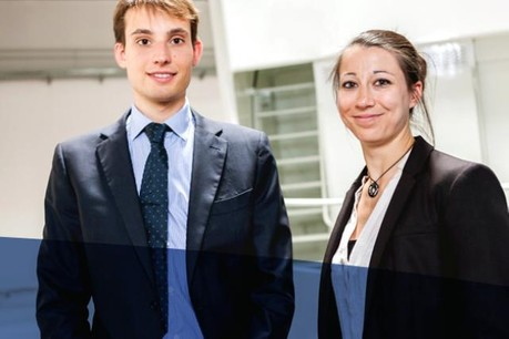 Anne-Sophie Mangen, Recruitment Services at Cargolux Airlines international, and Arnaud Naert, Powerplant Engineer. jobs.lu
