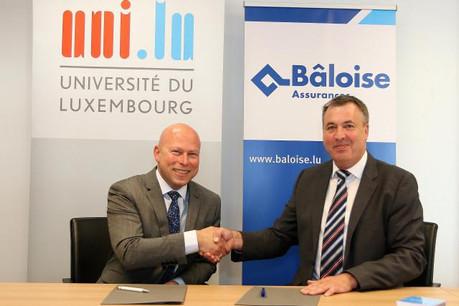 Stéphane Pallage, recteur de l'Université du Luxembourg, et Romain Braas, Administrateur-Directeur Général de Bâloise Assurances Luxembourg (credit photo: Baloise Assurance)