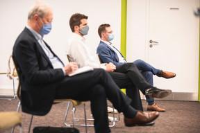 Daniel Van Hove (Orionis Management), Marc Gierenz et Patrick Marth (Brunata - Metrona) ((Photo: Simon Verjus/Maison Moderne))