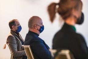David Sibaud (Reckinger Alfred), Walter De Groof (Digital Brains) et Marie Vanhove (Squaremiled) ((Photo: Julian Pierrot/Maison Moderne))