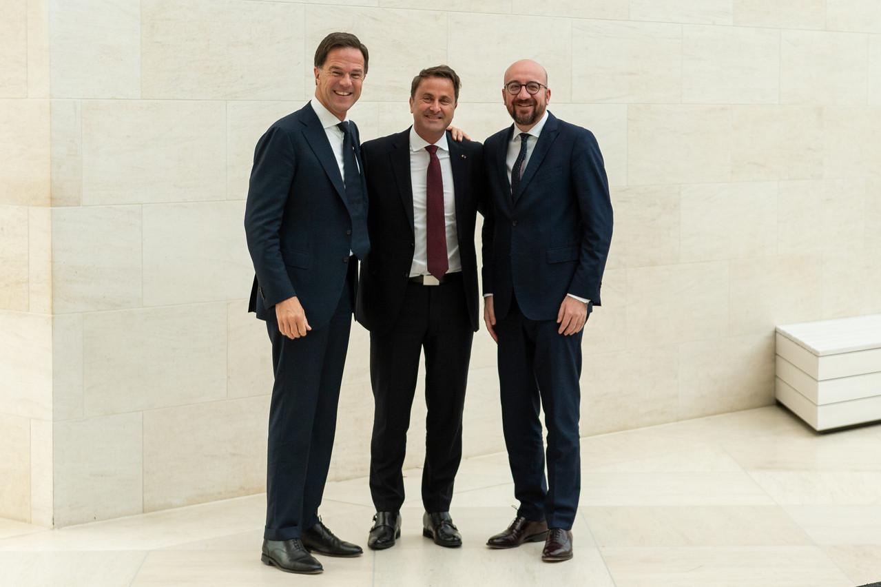 C'est au Mudam que le Premier ministre Xavier Bettel a accueilli ses homologues hollandais et belge, Mark Rutte et Charles Michel. (Photo: Emmanuel Claude / SIP)