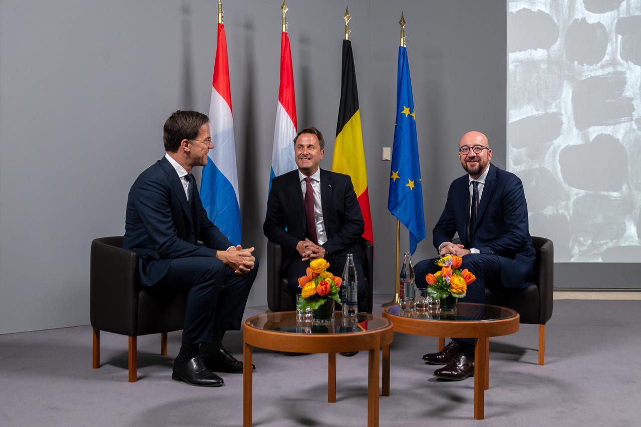 Mark Rutte, Premier ministre, ministre des Affaires générales du royaume des Pays-Bas; Xavier Bettel, Premier ministre, ministre d'État et Charles Michel, Premier ministre du royaume de Belgique. (Photo: Emmanuel Claude / SIP)