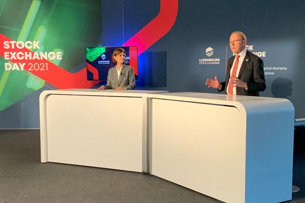 Julie Becker et Robert Scharfe ont orienté les débats de la conférence annuelle sur les technologies, le Brexit et la finance durable. (Photo: Twitter/LuxSE)