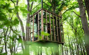 Le Cube de verre et son mélange de verre et de bois. ((Photo: Ici))