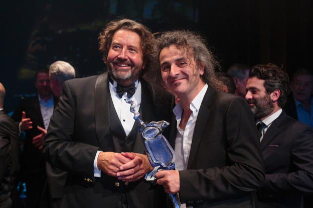 Guy Daleiden (Film Fund) et Donato Rotunno (Tarantula) lors du Filmpräis 2018. (Photo: Matic Zorman / Archives)