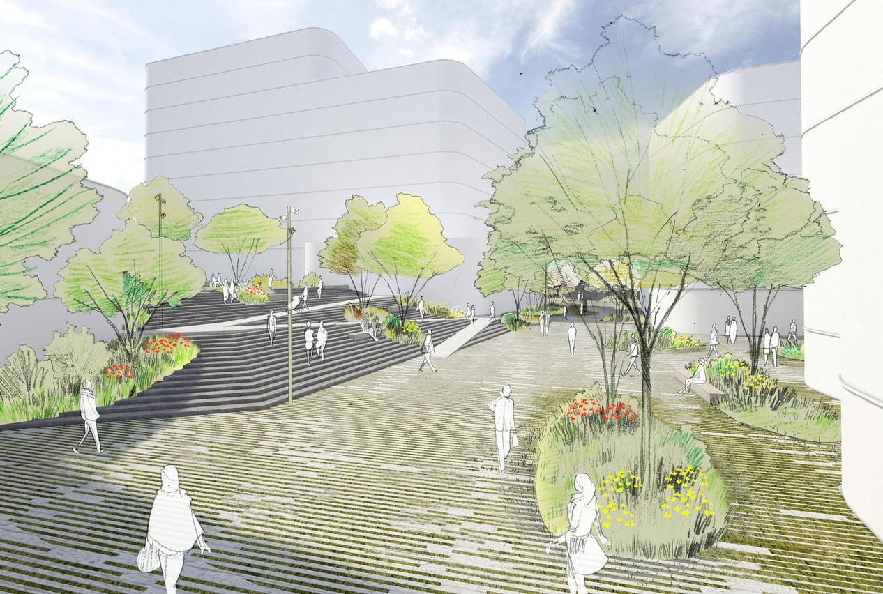 Le projet jouxtant l'actuelle rue des Scillas et remplaçant ce qui était une zone commerciale comportera une centaine de logements. (Illustration: Capelli)