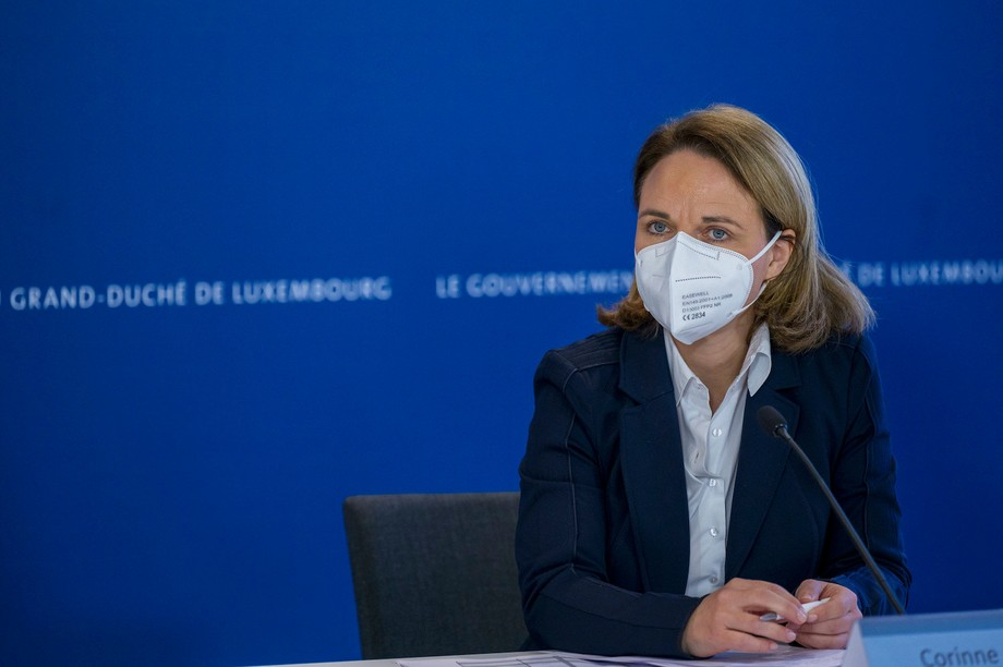Family minister Corinne Cahen, pictured during a March 2021 press conference Photo: SIP / Jean-Christophe Verhaegen