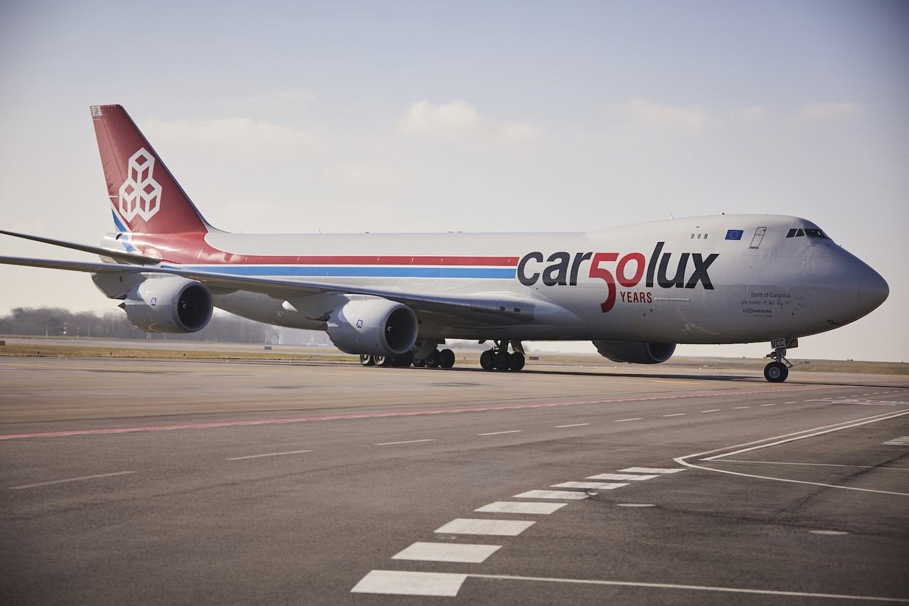 Flanqué du design «Car50lux», le 747-8F est aussi un avion emblématique du groupe. Cargolux avait signé une première commande de 10 exemplaires de la version 747-8 avant de commander cinq 747-8F de plus. (Photo: Cargolux)