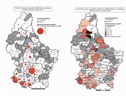 Le ministère de la Santé a publié une carte du nombre de personnes testées positives au Covid-19 entre le 22 juin et le 12 juillet par commune. (Photo: Capture d'écran du site de la Chambre des Députés)