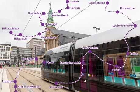 Vous pouvez dès à présent emprunter le tramway devant la gare pour rejoindre le centre-ville ou le Kirchberg. (Photo: Romain Gamba / Maison Moderne - Photomontage: Paperjam)