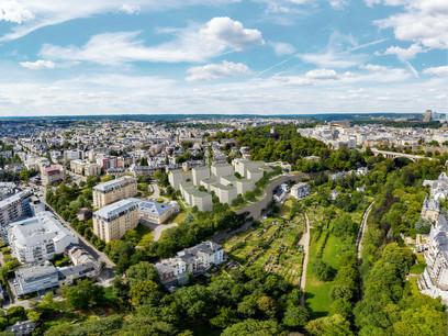 Perspective du projet lauréat conçu parChristian Bauer & Associés Architectes, Areal Landscape Architecture et +Impakt pour le Centre Convict à Luxembourg. (Illustration: Christian Bauer & Associés Architectes – Areal Landscape Architecture – +Impakt)