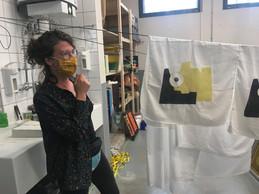 Irina Moons a travaillé sur un projet de sérigraphie sur tissu pour réaliser des parures de lit qui seront par la suite vendues. ((Photo: Paperjam.lu))