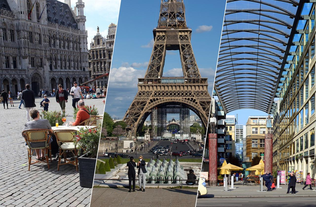À Bruxelles,  à  Paris ou à  Berlin, la variété des activités possibles diffère ,  évidemment. (Photos: Shutterstock. Montage: Maison Moderne)