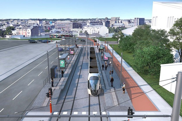 Le nouvel arrêtLeschte Steiwer ou Dernier Sol sera situé au début de la nouvelleN3, une artère parallèle à l'actuelle route de Thionville et au Rangwee. (Visuel: Administration des ponts et chaussées)