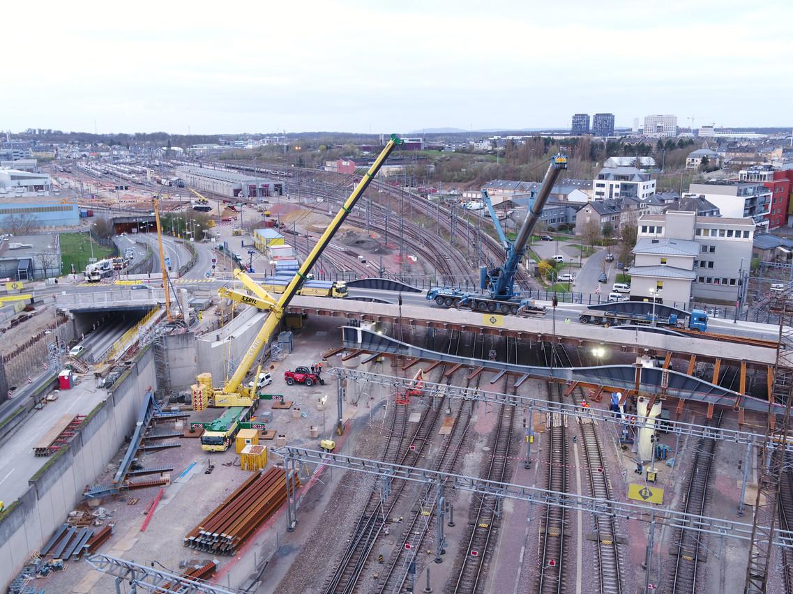 Actuellement en travaux pour élargissement, le pont Buchler accueillera le tram dans sa prolongation vers Bonnevoie. (Visuel: Administration des ponts et chaussées)