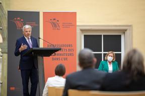 Didier Reynders, commissaire européen à la Justice et Paulette Lenert, ministre de la Protection des consommateurs. ((Photo: Romain Gamba/Maison Moderne))