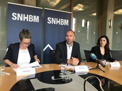 Annick Rock, présidente du conseil d'administration, Guy Entringer, directeur, et Jessica Gaspar, chargée de communication, lors de la conférence de presse de la SNHBM. (Photo: DR)