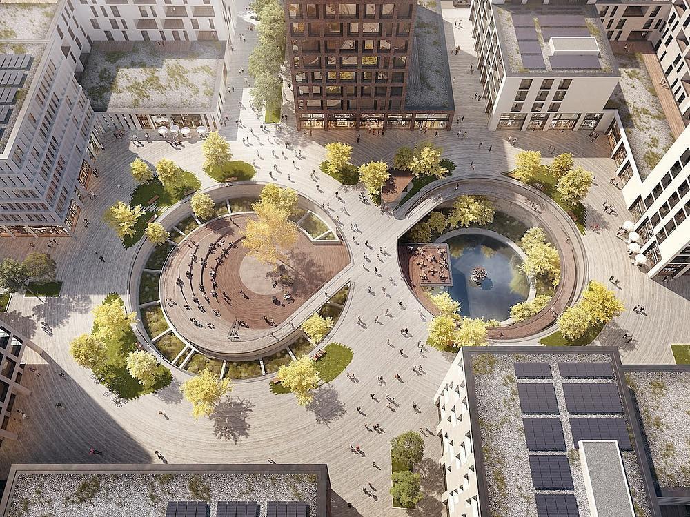 La future place des bassins telle qu'imaginée par Metaform Architects. (Illustration: Metaform Architects)