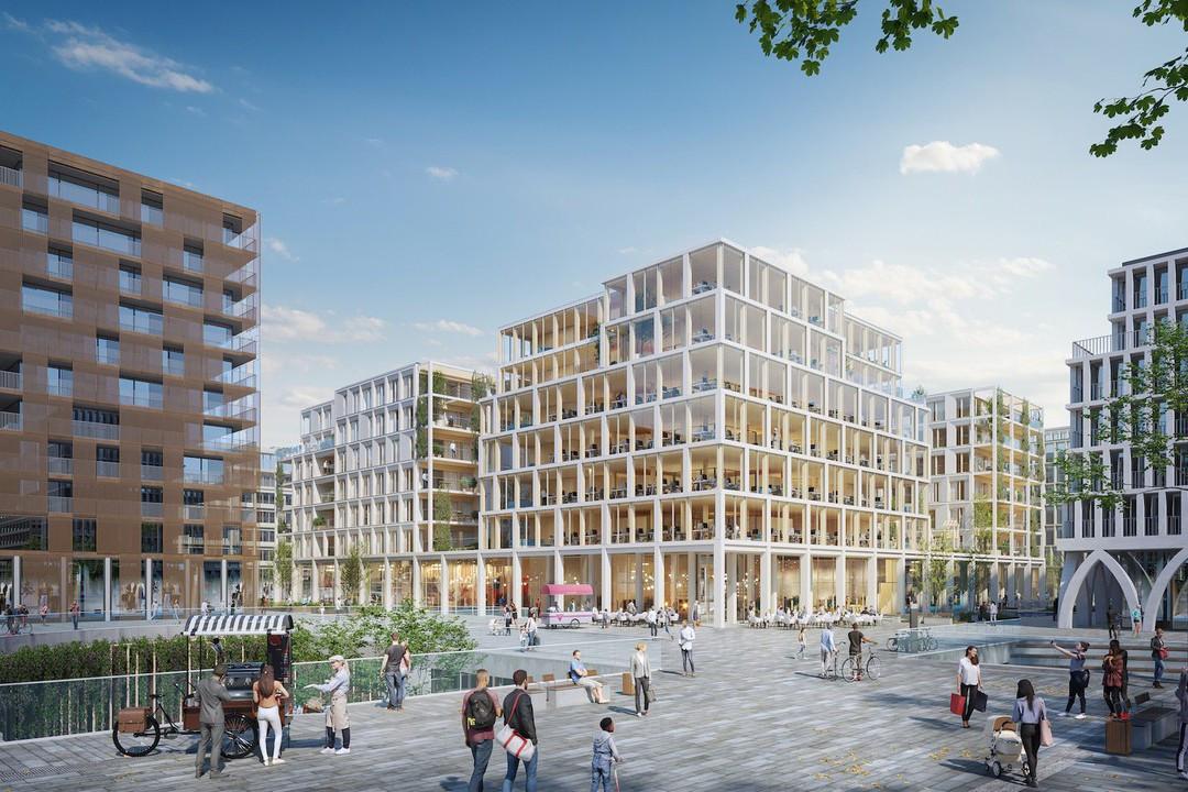 The Rootsest un immeuble mixte commerces, bureaux, logements, qui est développé dans le quartier Square Mile. (Illustration: BPI Real Estate, Unibra Real Estate, ArtBuild Architects)