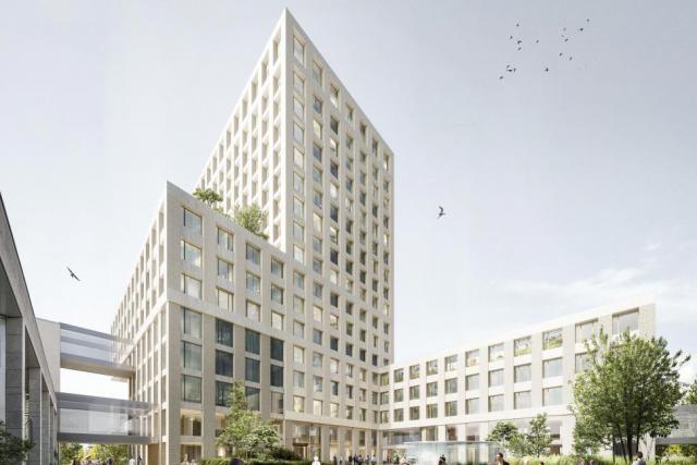 La future tour, à côté d'un bâtiment plus bas, fera 16 étages. (Illustration: Baumschlager Eberle + Christian Bauer & Associés Architectes)