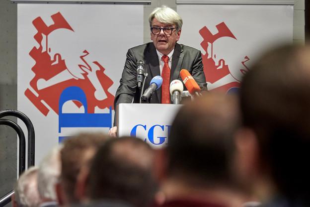 RomainWolff a déploré, devant 500membres de la CGFP, les attaques à l'encontre de la liberté syndicale. (Photo: Christof Weber)