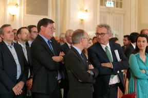 Yves Maas (ABBL), Luc Frieden (Chambre de commerce) et Pierre Gramegna (Ministre des Finances) ((Photo: Matic Zorman))
