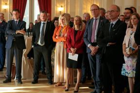 Camille Seillès (ABBL), Simone Dettling (UNEP FI), Robert Scharfe (Bourse de Luxembourg), Luc Frieden (Chambre de commerce) et Barbara Daroca (ING) ((Photo: Matic Zorman))