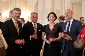 Serge de Cillia (ABBL), Guy Hoffmann (ABBL), Analia Clouet (Banque Raiffeisen) et Philippe Seyll (Clearstream) ((Photo: Matic Zorman))