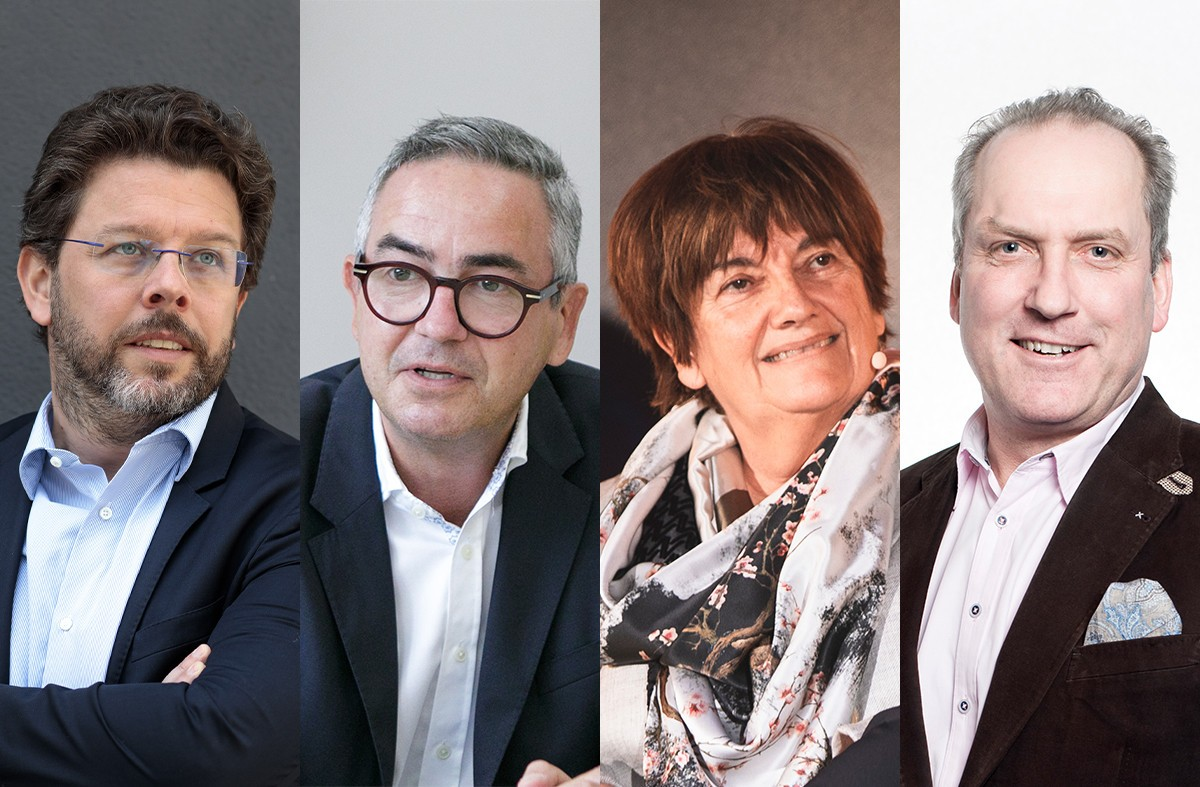 Employers' federations headed by (l.r), Nicolas Henckes,Ernest Pirsch, Michèle Detaille and Pol Faber   are preparing for the new school year.   (Photos: Maison Moderne; Groupement des entrepreneurs. Collage: Maison Moderne)