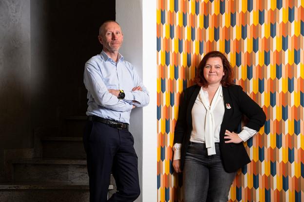 ThierrySmets cofounder, etGaëlleHaag,CEO et cofounder deStartalers. (Photo: Anthony Dehez)