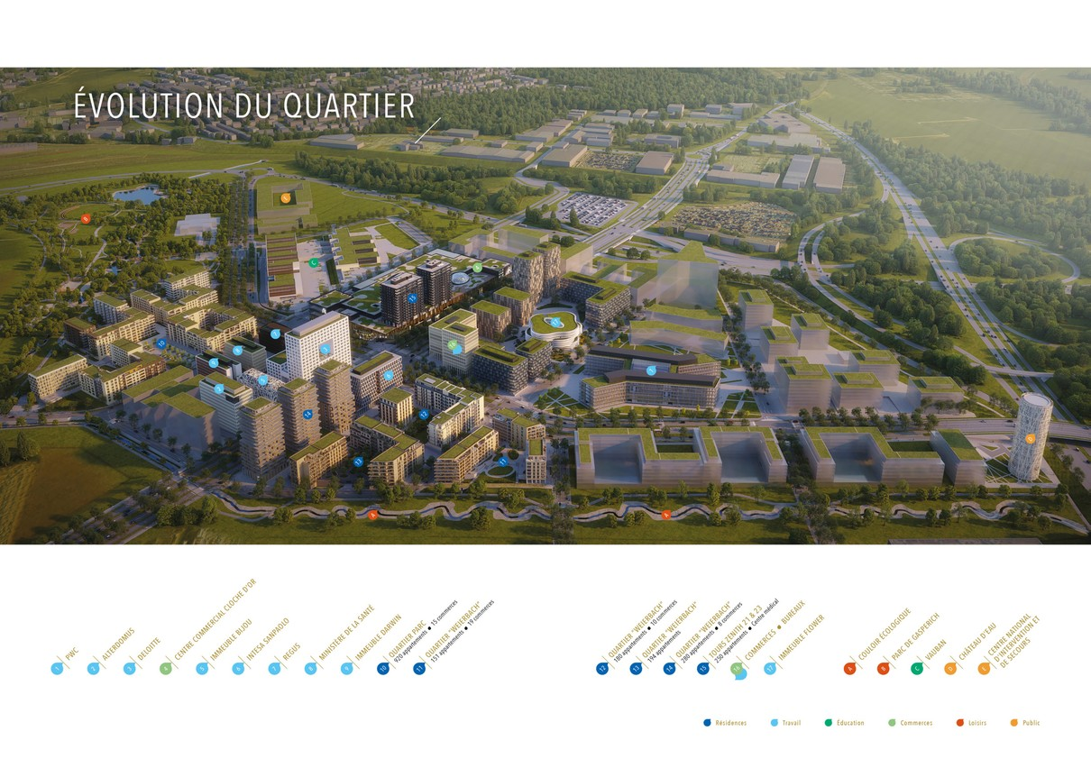 Le développement du quartier prend peu à peu vie, entre immeubles résidentiels et de bureaux. (Visuel: Cloche d'Or/Grossfeld/Promobe)