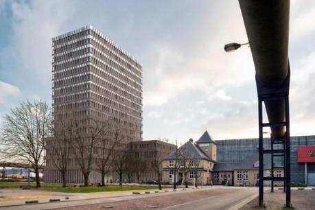 L e premier bâtiment administratif que le Fonds Belval construit pour le compte de l'Etat à Belval avance à grands pas.  (Photo: Fonds Belval)