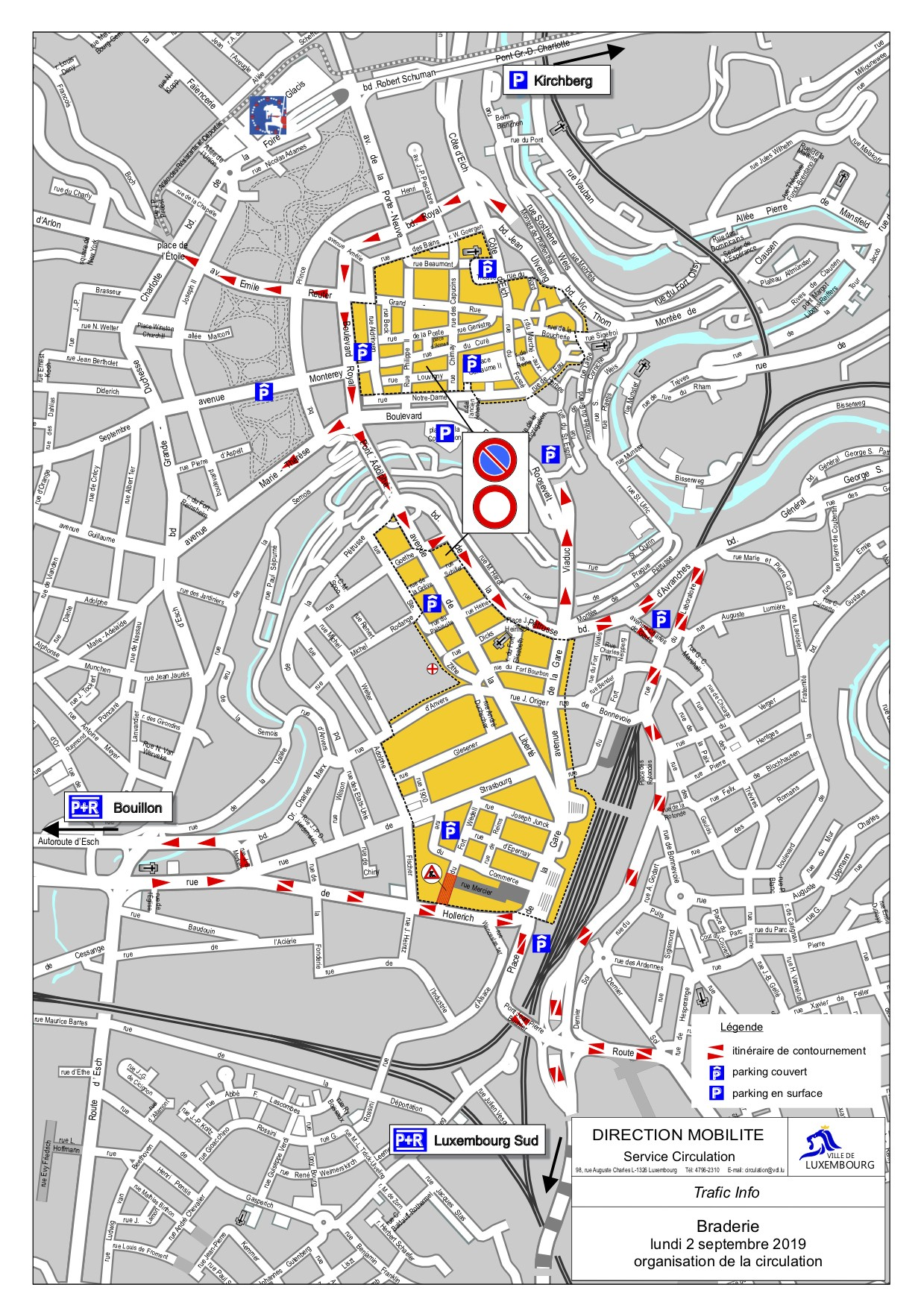 La Ville recommande également de se garer dans les P+R et de se rendre à la Braderie en transports en commun. (Illustration: Ville de Luxembourg)