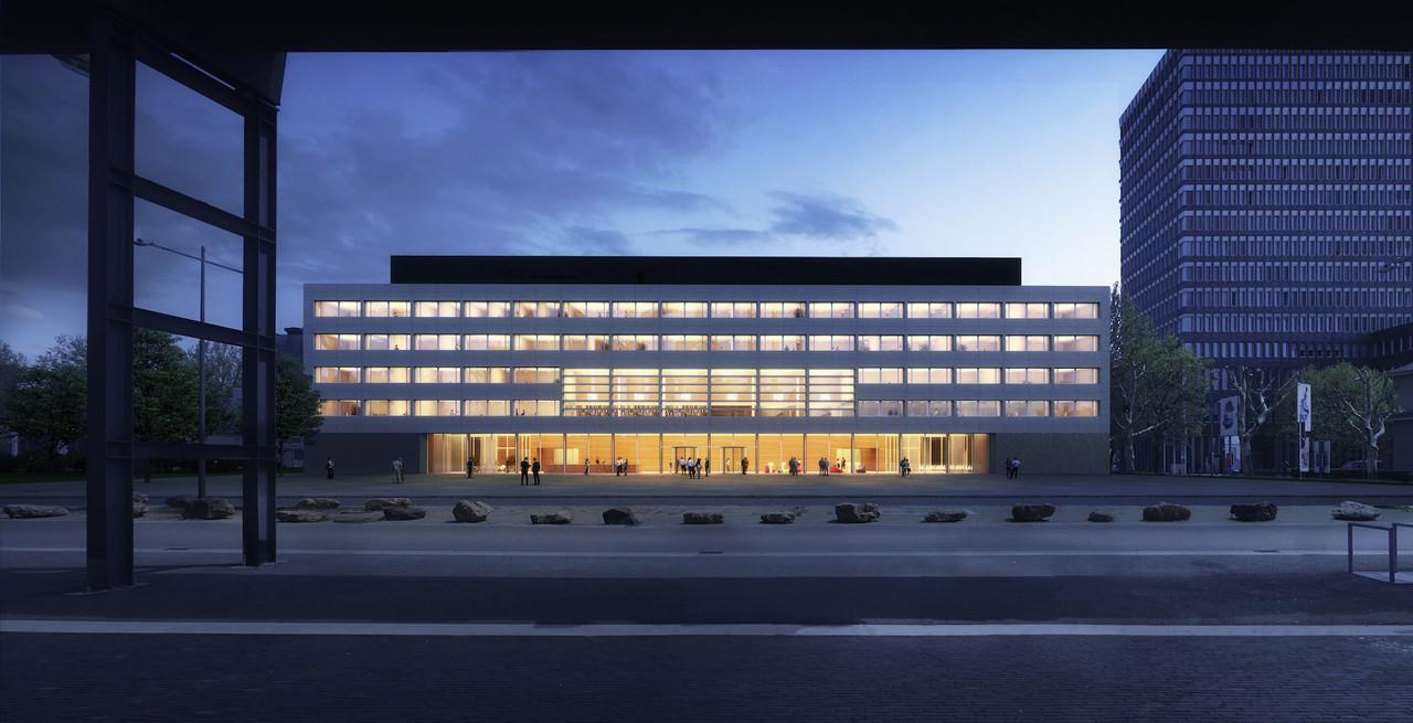 Le public sera accueilli dans la partie du bâtiment orientée vers les hauts fourneaux. (Illustration: VIZE)