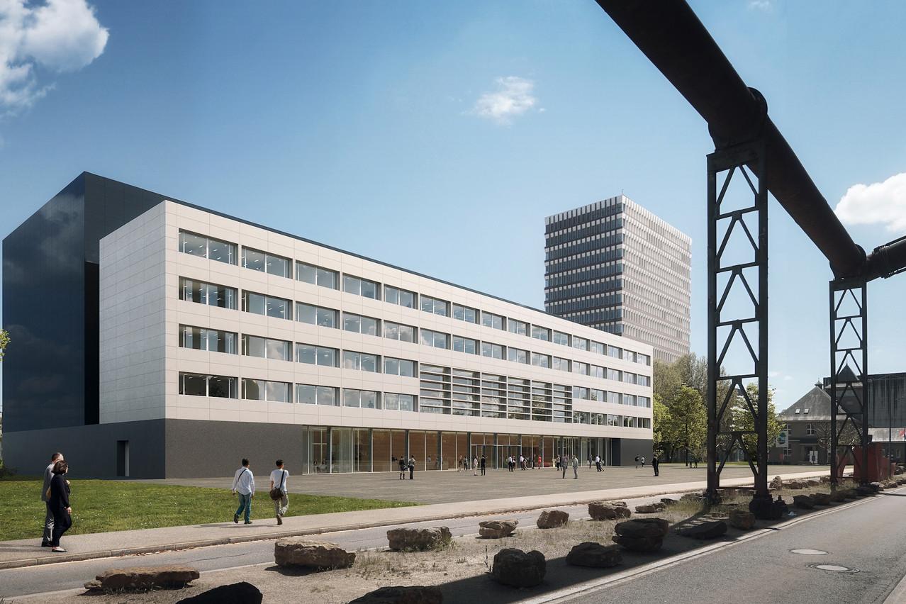 Les Archives nationales vont être construites à Belval, au pied de la tour administrative. (Illustration: VIZE)