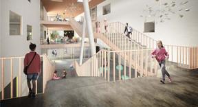 À l'intérieur, les enfants auront plusieurs espaces collectifs pour leurs activités. ((Illustration:Decker, Lammar & Associés))