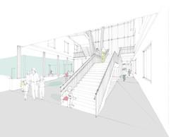 Un grand escalier ouvert relie les différents étages. ((Illustration:Decker, Lammar & Associés))