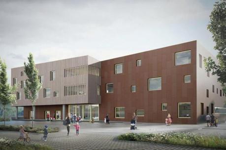 Le campus à Lenkeschléi regroupe école fondamentale, maison relais et infrastructures sportives sous un même toit. (Illustration:Decker, Lammar & Associés)