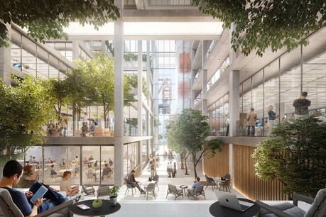 Le nouvel immeuble propose des espaces de bureaux flexibles et plusieurs terrasses intérieures. (Illustration :Foster + Partners, Beiler François Fritsch)