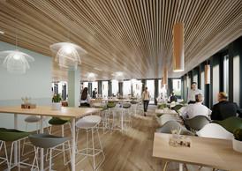 Plusieurs types d'assises sont proposées dans l'espace de restauration. ((Illustration: Moreno Architecture & Associés))