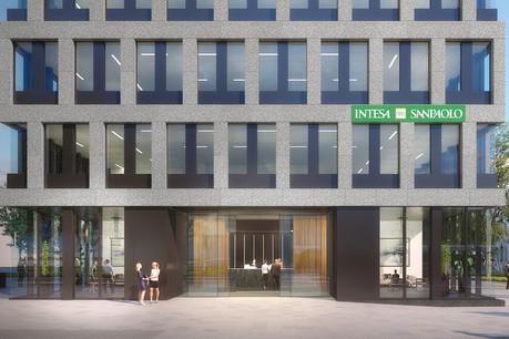 L'entrée principale, face au boulevard de Kockelscheuer, est marquée par un habillage en tôle d'aluminium thermolaqué. (Illustration: Moreno Architecture & Associés)