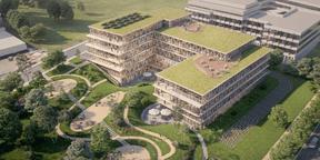 Le bâtiment présente une forme de U qui s'ouvre sur le parc communal voisin. (Illustration: Art & Build Architect)