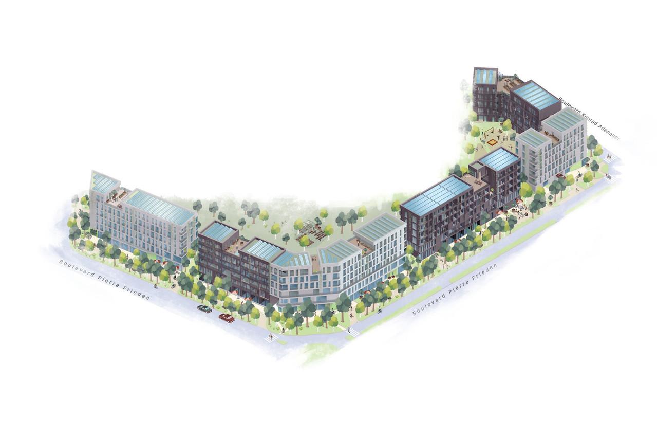 Le projet «Kiem2050» se situe à l'ouest de l'actuel quartier du Kiem au Kirchberg. (Illustration: Fonds Kirchberg)